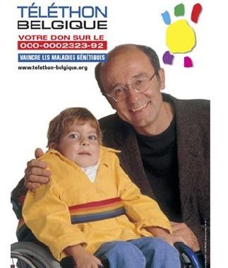 Philippe Geluck, parrain du Téléthon en Belgique, en compagnie de Fanny.